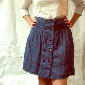 Zara Denim Double Buttoned Skirt